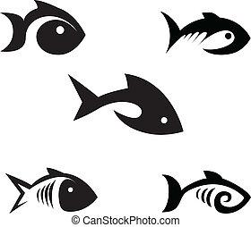 stylisé, poissons