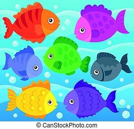 stylisé, poissons, thème, 1, image