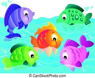 stylisé, poissons, thème, 5, image