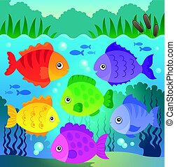 stylisé, poissons, thème, 9, image