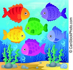 stylisé, poissons, thème