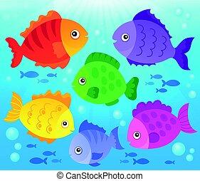 stylisé, poissons, thème, image, 3