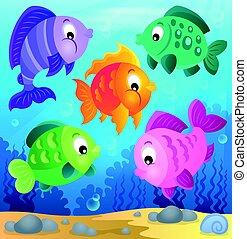 stylisé, poissons, thème, image, 6