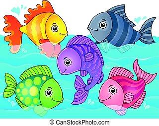 stylisé, poissons, thème, image, 7