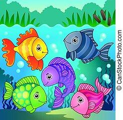 stylisé, poissons, thème, image, 8