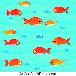 stylisé, poissons, topic, 2, image