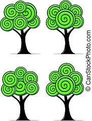 stylisé, résumé, ensemble, vecteur, arbres