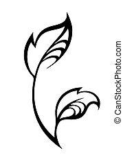 stylisé, silhouette, feuille, printemps