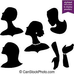 stylisé, silhouettes, exposer, bijouterie