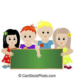 stylisé, tableau noir, groupe, enfants, tenue