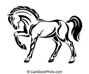 stylisé, tatouage, cheval, -, dessin