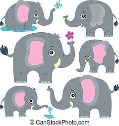 stylisé, thème, éléphants