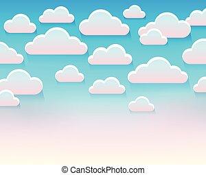 stylisé, thème, nuages