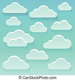 stylisé, thème, nuages, image