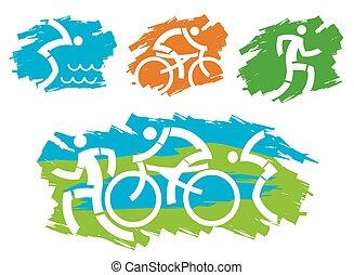 stylisé, triathlon, grunge, icons.