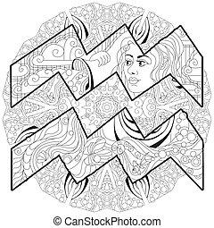 stylisé, vecteur, coloration, signe, verseau, dessin animé, mignon, zentangle, mandala, caractère, retro, zodiaque