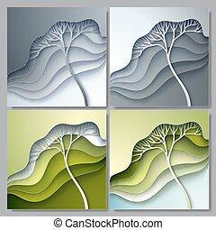 stylisé, vecteur, ensemble, arbre, illustration