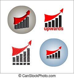 stylisé, ventes, profit, graphique, haut, something., arrow., montant, production, croissance, vector., taux, augmenter, ou, rouges