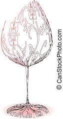 stylisé, verre vin