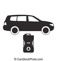 stylisé, voiture, boîte métallique, essence, icône