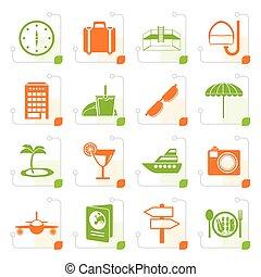 stylisé, voyage, tourisme, voyage, icônes