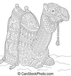 stylisé, zentangle, chameau