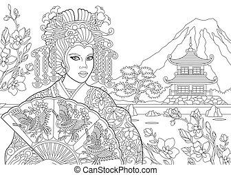 stylisé, zentangle, femme, geisha