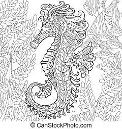 stylisé, zentangle, seahorse