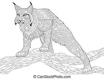 stylisé, zentangle, wildcat