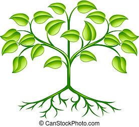 stylised, árvore, desenho