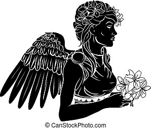 stylised, anjo, mulher, ilustração