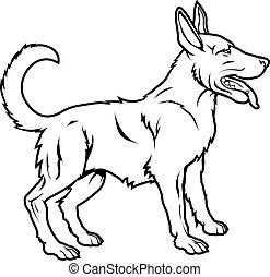 stylised, ilustração, cão