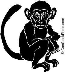 stylised, ilustração, macaco
