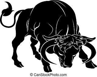stylised, ilustração, touro