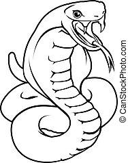 stylised, ilustracja, wąż