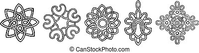 Set of 5 hand-drawn, stylised medallion patterns to incorporate into your design