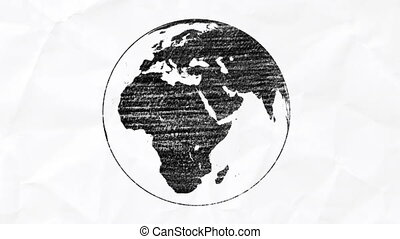 stylised planet Earth - Pencil spinning planet Earth -...