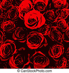 Stylised red roses on black background