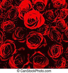 Stylised red roses on black background