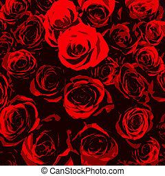 stylised, rode rozen, op, zwarte achtergrond