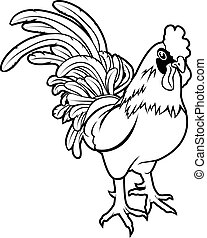An illustration of a stylised rooster or cockerel perhaps a rooster tattoo