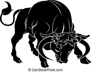 stylised, touro, ilustração