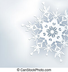 Stylish abstract background, 3d ornate snowflake