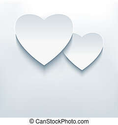 Stylish abstract background, two 3d hearts