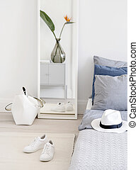 Stylish accessories in bedroom.