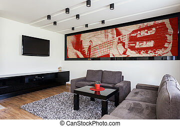 Stylish and modern living room - Interior of stylish and...