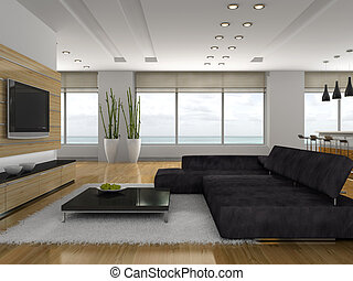 Stylish apartment 3D rendering
