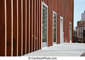Stylish architectural background with contrast vertical wooden panels