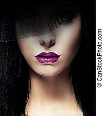 Stylish Aristocratic Woman with Dark Veil
