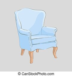 Stylish armchair on a gray background